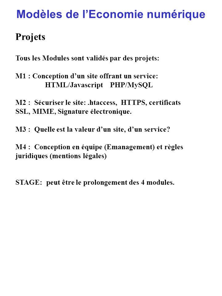 Modèles de lEconomie numérique Projets Tous les Modules sont validés par des projets: M1 : Conception dun site offrant un service: HTML/Javascript PHP