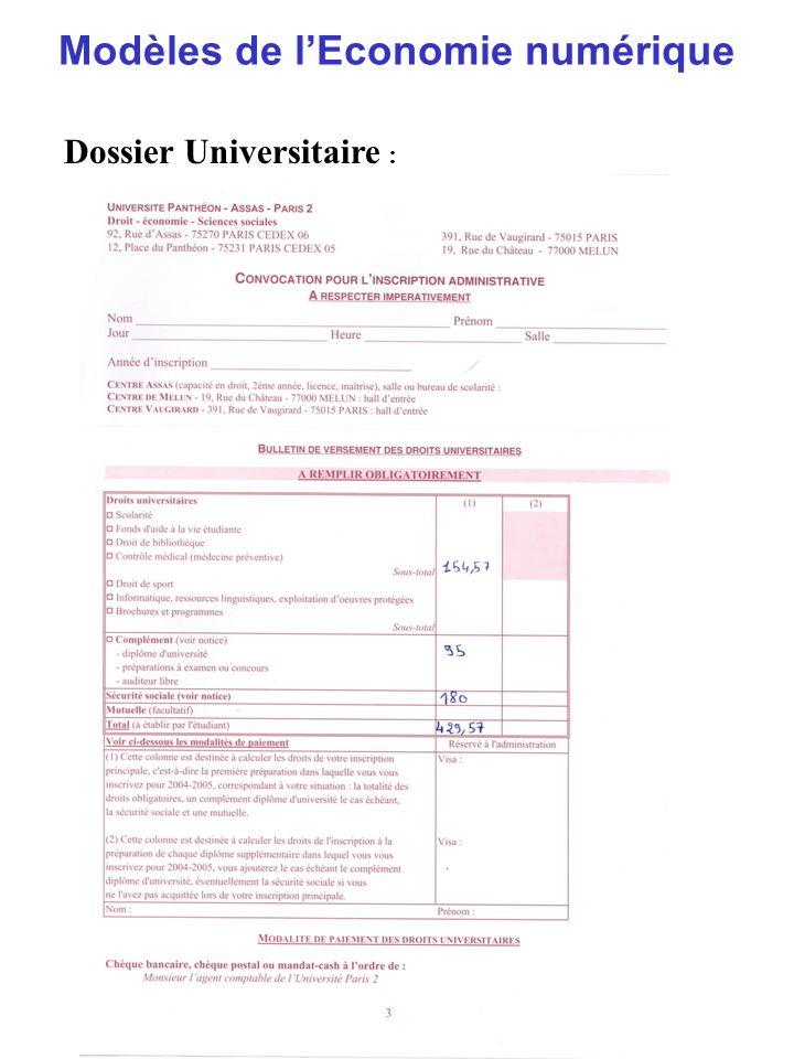 Modèles de lEconomie numérique Dossier Universitaire :