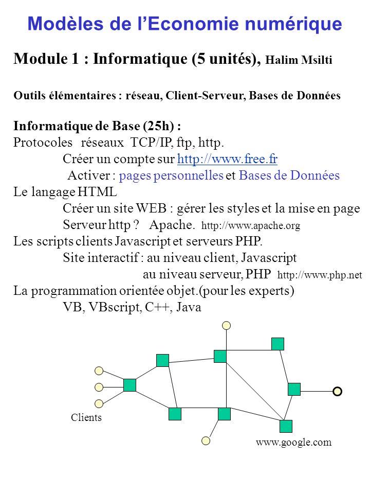 Modèles de lEconomie numérique Module 1 : Informatique (5 unités), Halim Msilti Outils élémentaires : réseau, Client-Serveur, Bases de Données Informa