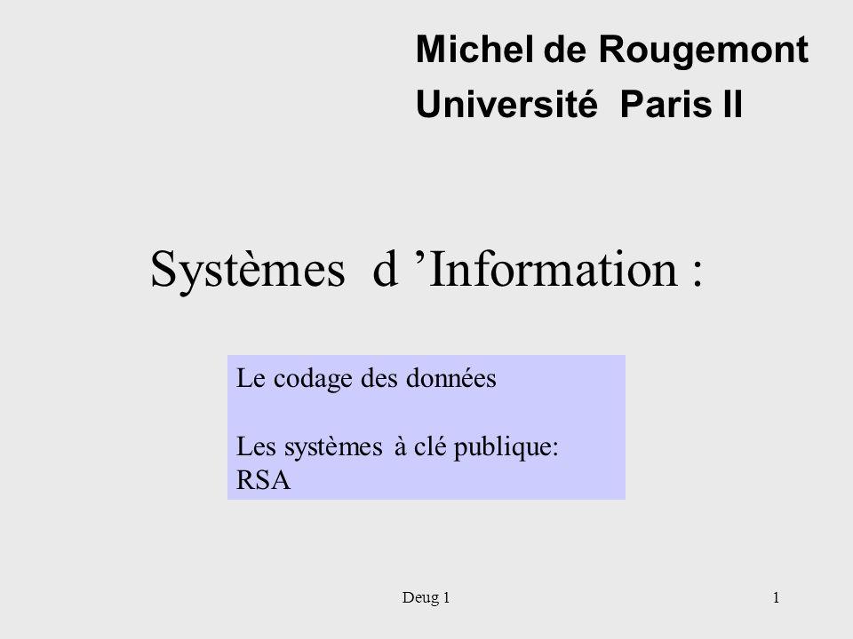 Deug 11 Systèmes d Information : Michel de Rougemont Université Paris II Le codage des données Les systèmes à clé publique: RSA