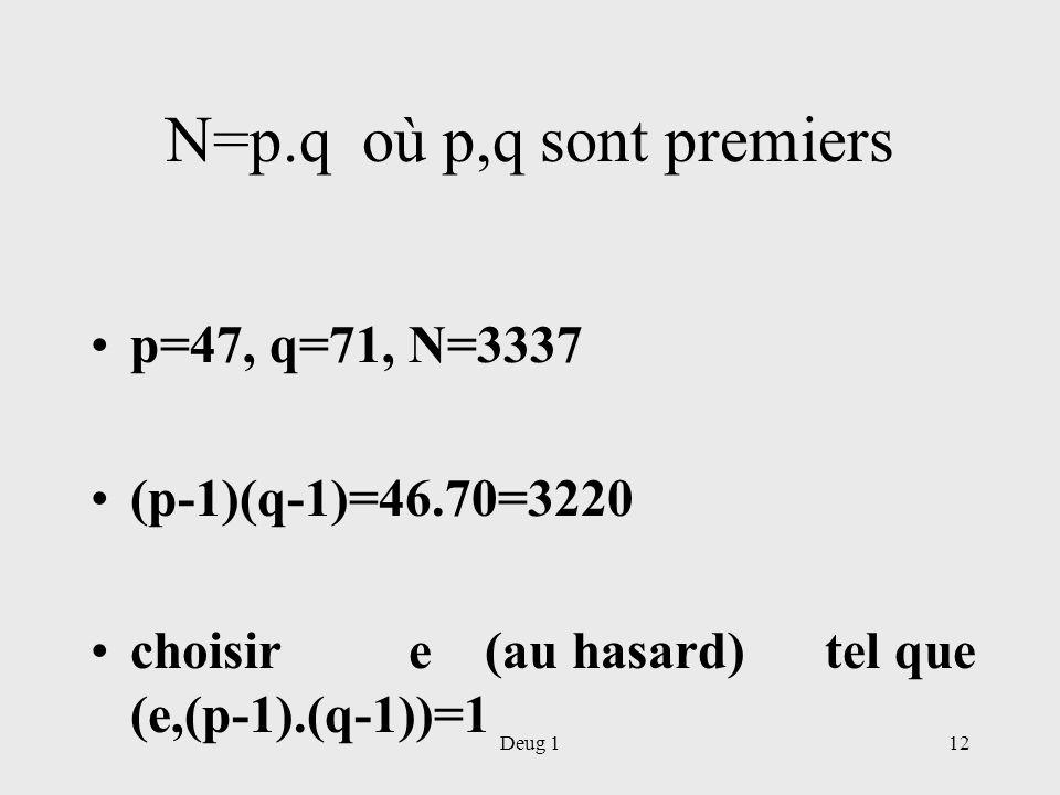 Deug 112 N=p.q où p,q sont premiers p=47, q=71, N=3337 (p-1)(q-1)=46.70=3220 choisir e (au hasard) tel que (e,(p-1).(q-1))=1