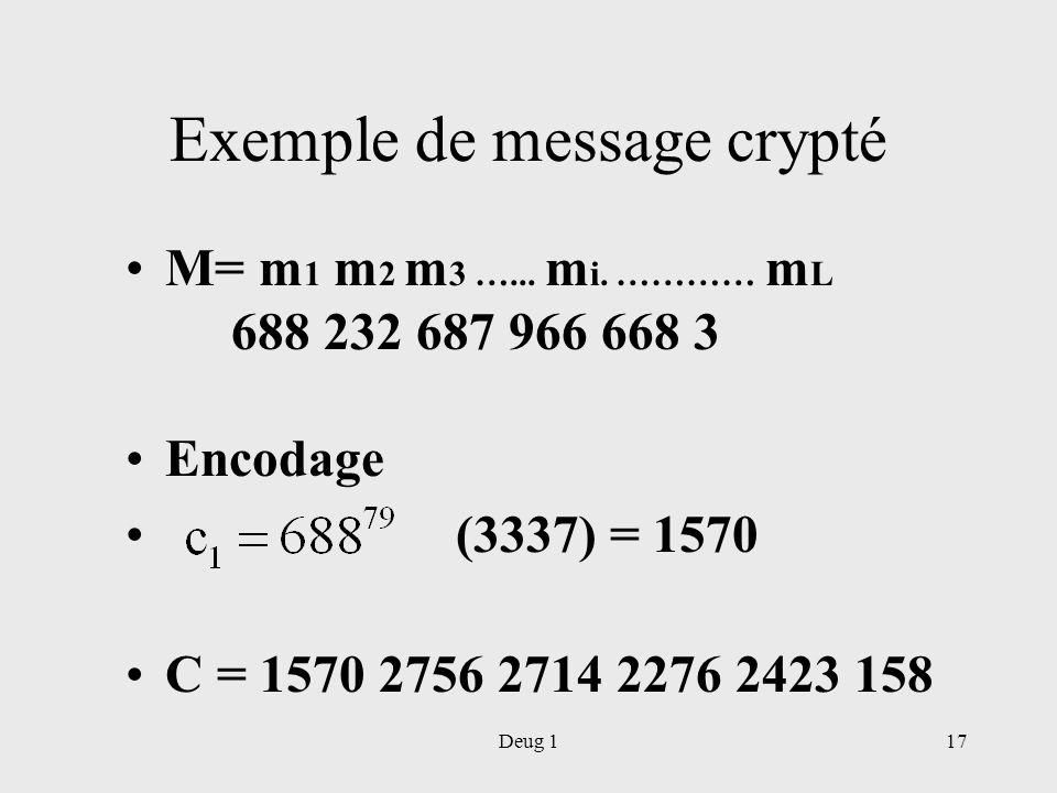 Deug 117 Exemple de message crypté M= m 1 m 2 m 3 …... m i. ………… m L 688 232 687 966 668 3 Encodage (3337) = 1570 C = 1570 2756 2714 2276 2423 158