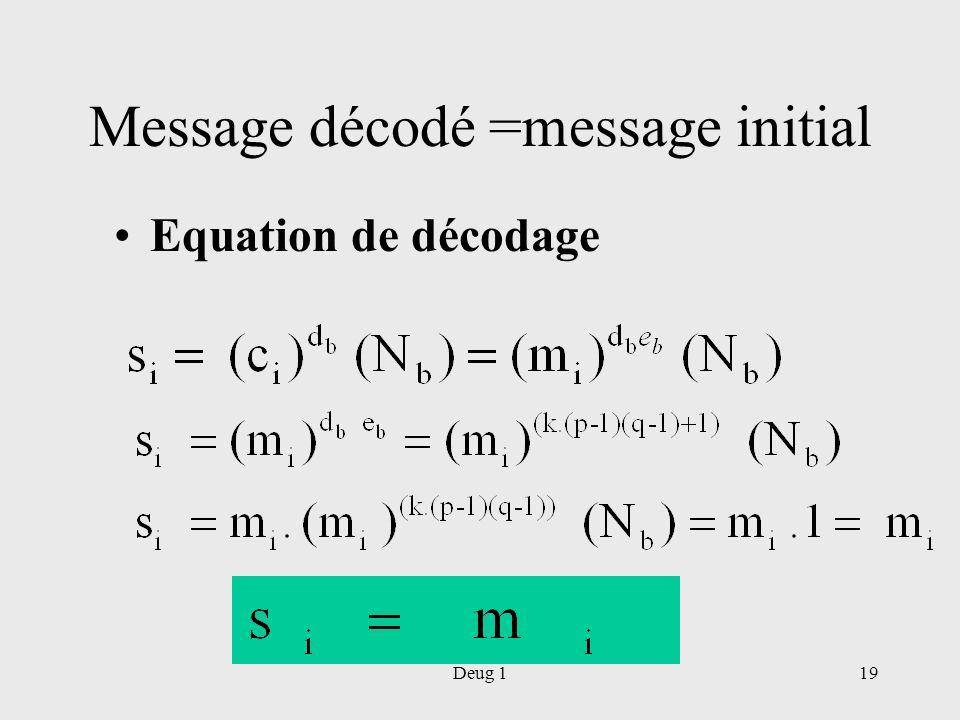 Deug 119 Message décodé =message initial Equation de décodage