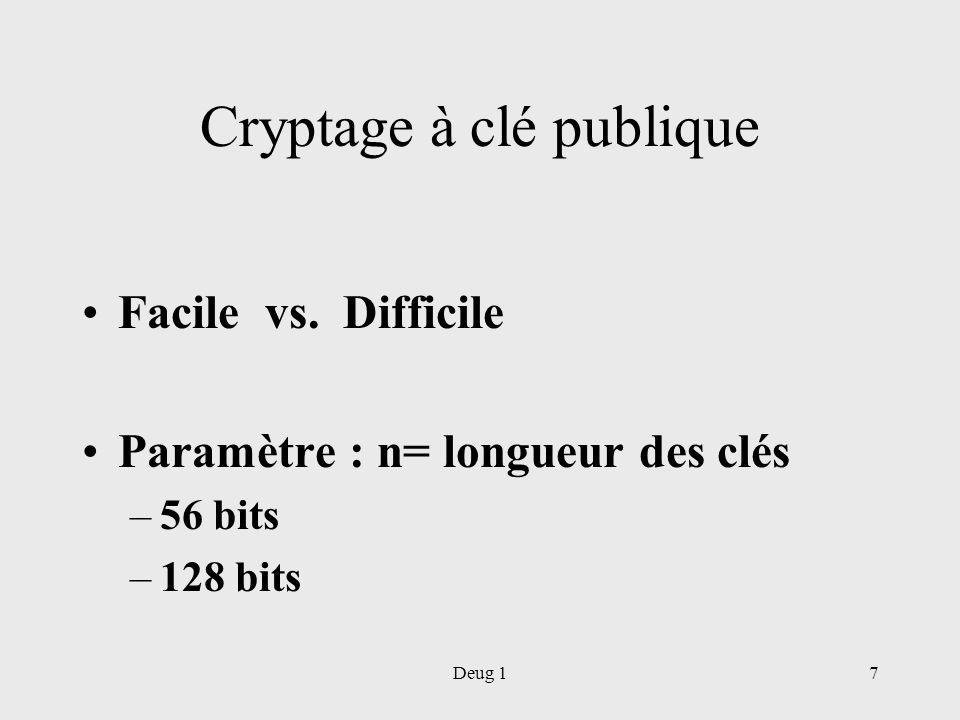 Deug 17 Cryptage à clé publique Facile vs. Difficile Paramètre : n= longueur des clés –56 bits –128 bits