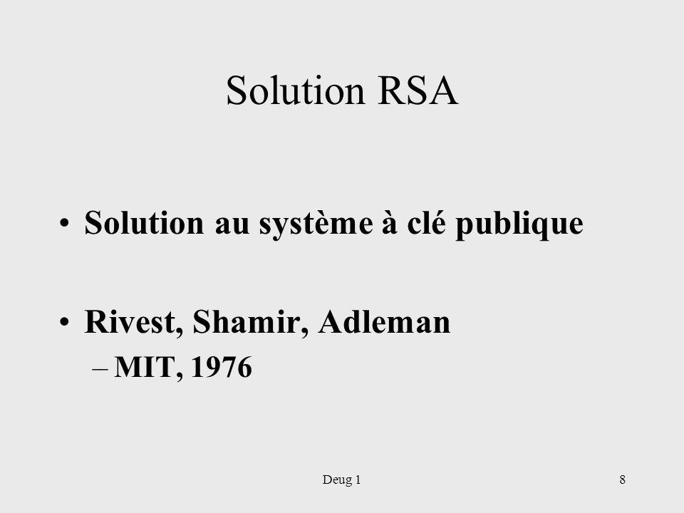 Deug 18 Solution RSA Solution au système à clé publique Rivest, Shamir, Adleman –MIT, 1976