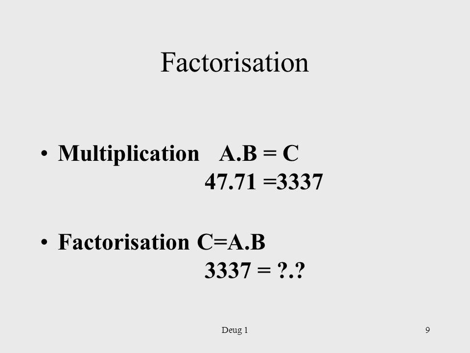 Deug 110 Nombres premiers (a,n)=1 –a et n sont premiers entre eux –Pgcd (a,n)=1 N est premier : seuls diviseurs sont 1 et N.