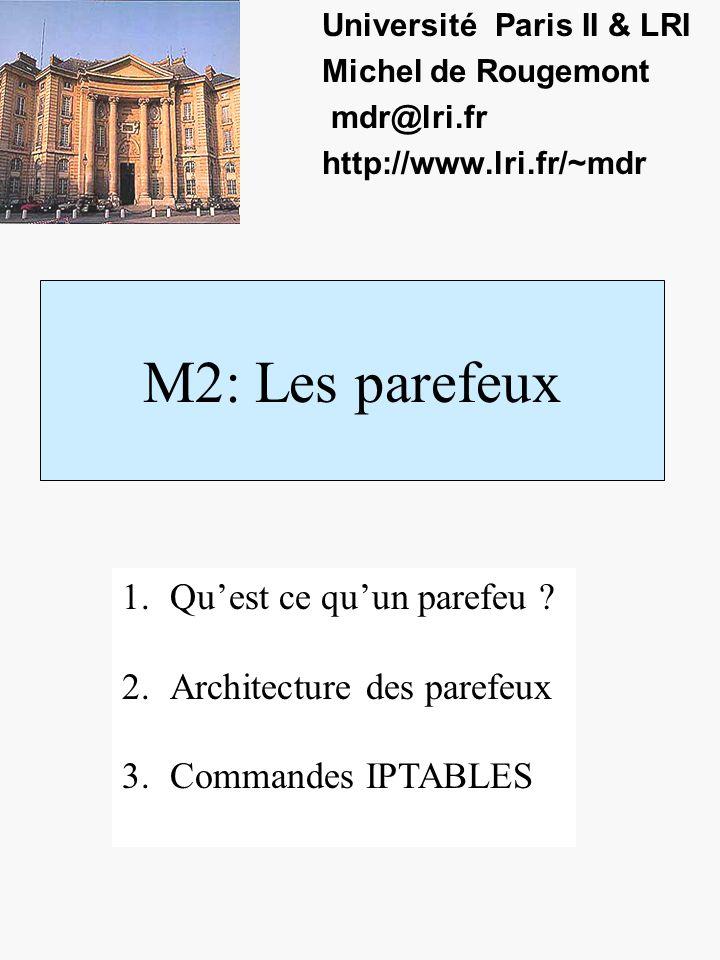 M2: Les parefeux Université Paris II & LRI Michel de Rougemont mdr@lri.fr http://www.lri.fr/~mdr 1.Quest ce quun parefeu .
