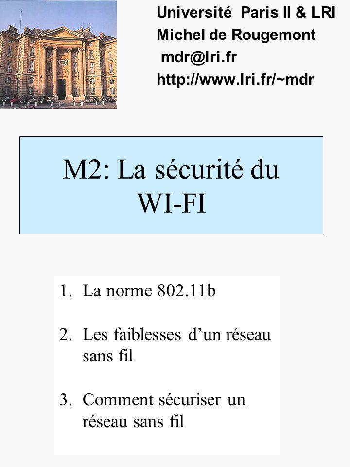 M2: La sécurité du WI-FI Université Paris II & LRI Michel de Rougemont mdr@lri.fr http://www.lri.fr/~mdr 1.La norme 802.11b 2.Les faiblesses dun réseau sans fil 3.Comment sécuriser un réseau sans fil