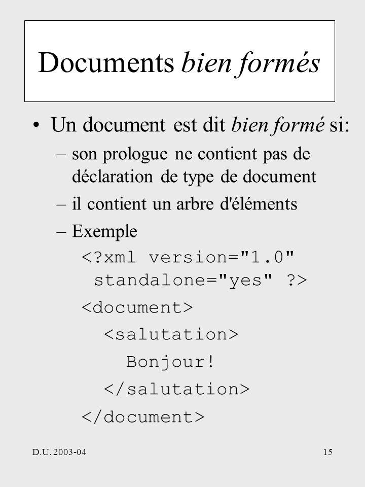 D.U. 2003-0415 Documents bien formés Un document est dit bien formé si: –son prologue ne contient pas de déclaration de type de document –il contient