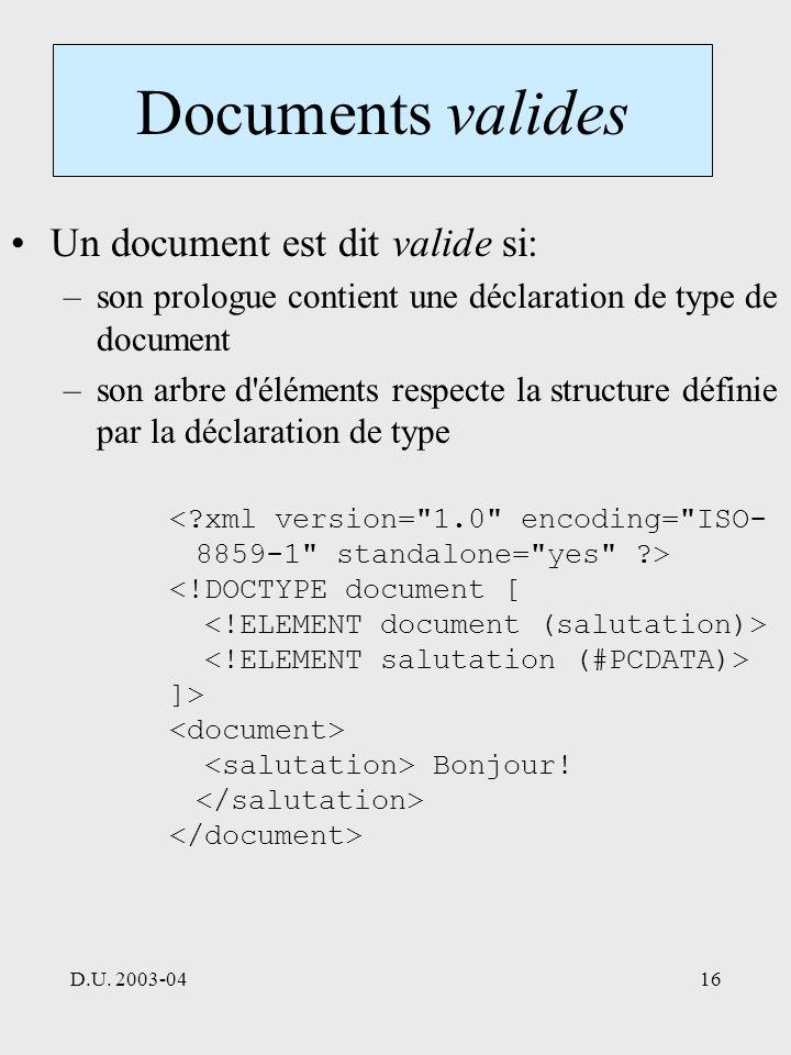 D.U. 2003-0416 Documents valides Un document est dit valide si: –son prologue contient une déclaration de type de document –son arbre d'éléments respe