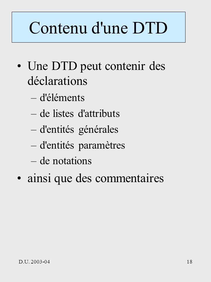 D.U. 2003-0418 Contenu d'une DTD Une DTD peut contenir des déclarations –d'éléments –de listes d'attributs –d'entités générales –d'entités paramètres