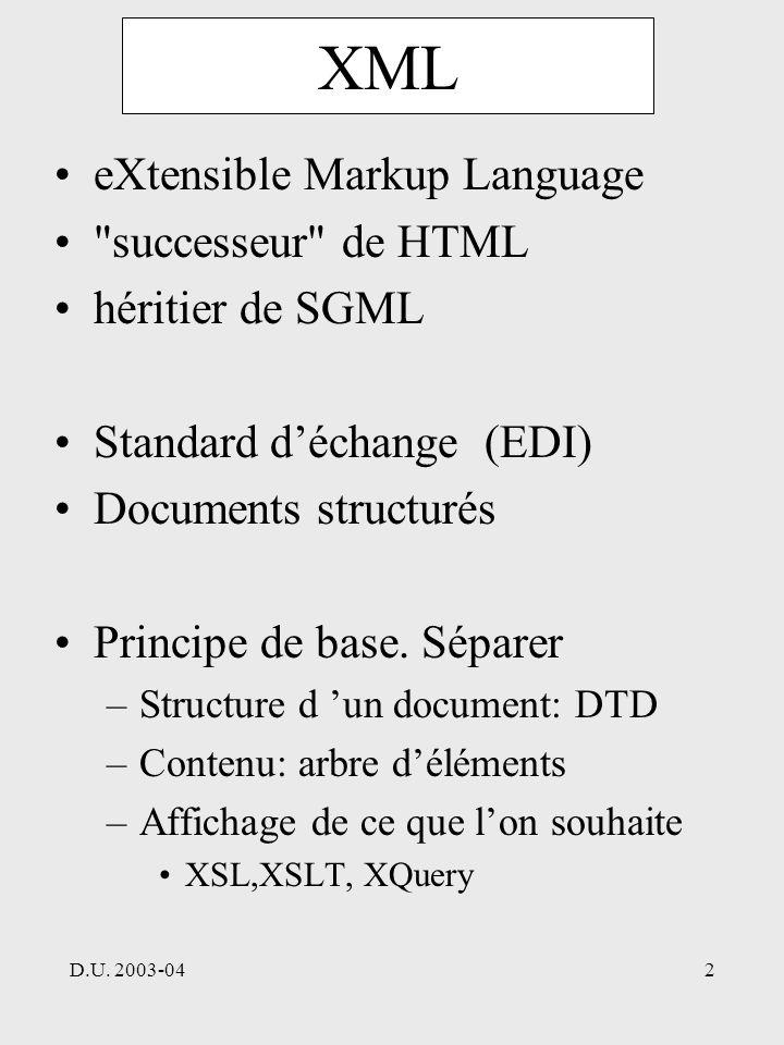 D.U. 2003-042 XML eXtensible Markup Language