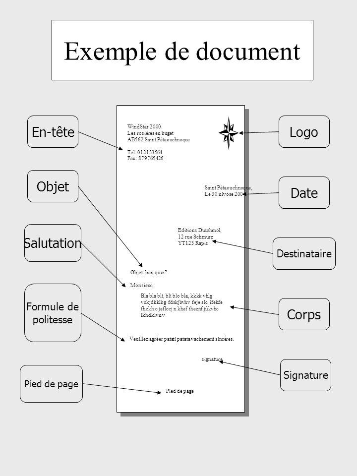 Exemple de document Saint Pétaouchnoque, Le 30 nivose 2004 Editions Duschmol, 12 rue Schmurz YT123 Rapis WindStar 2000 Les rosières en buget AB562 Saint Pétaouchnoque Tel: 012133564 Fax: 879765426 Objet: ben quoi.
