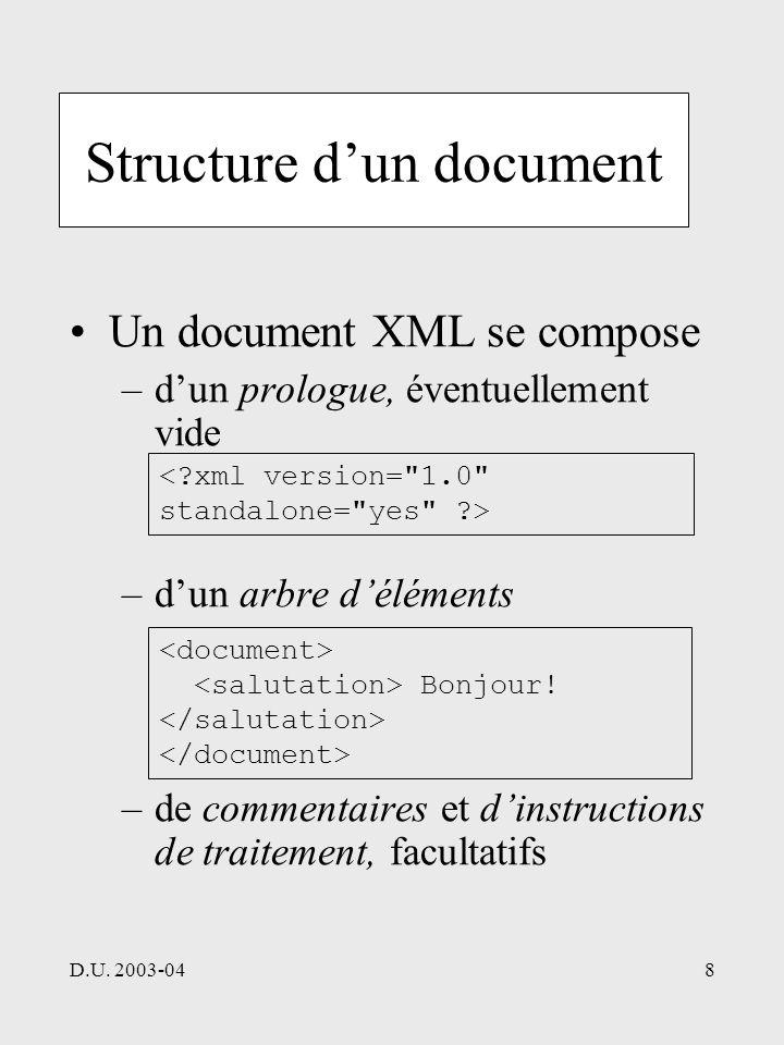 D.U. 2003-048 Structure dun document Un document XML se compose –dun prologue, éventuellement vide –dun arbre déléments –de commentaires et dinstructi