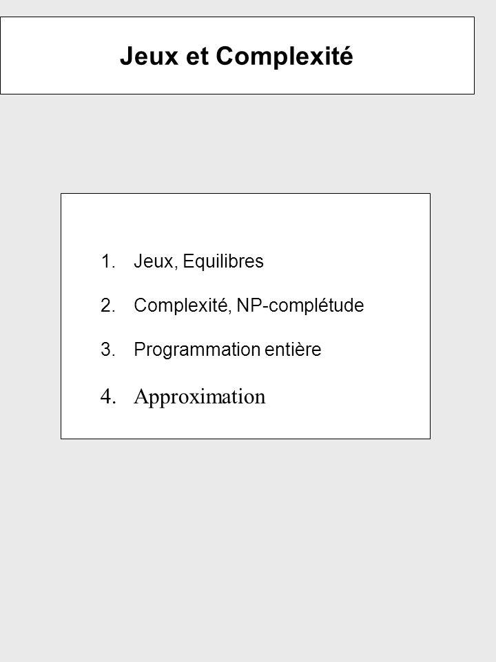 Jeux et Complexité 1.Jeux, Equilibres 2.Complexité, NP-complétude 3.Programmation entière 4.Approximation