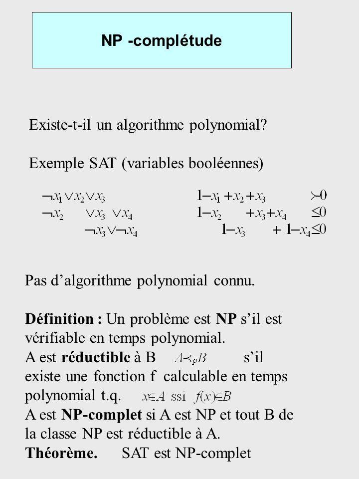 NP -complétude Existe-t-il un algorithme polynomial? Exemple SAT (variables booléennes) Pas dalgorithme polynomial connu. Définition : Un problème est