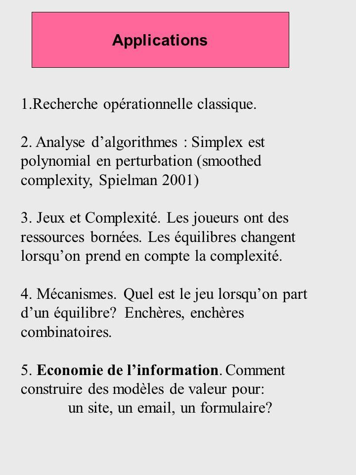 Applications 1.Recherche opérationnelle classique. 2. Analyse dalgorithmes : Simplex est polynomial en perturbation (smoothed complexity, Spielman 200