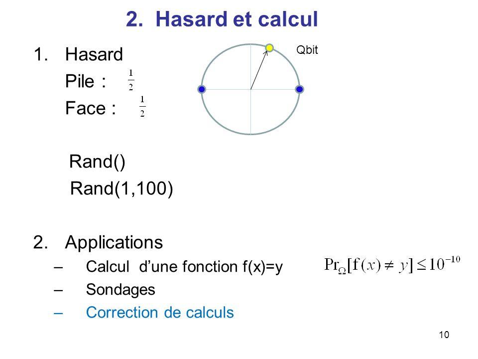 10 2. Hasard et calcul 1.Hasard Pile : Face : Rand() Rand(1,100) 2.Applications –Calcul dune fonction f(x)=y –Sondages –Correction de calculs Qbit