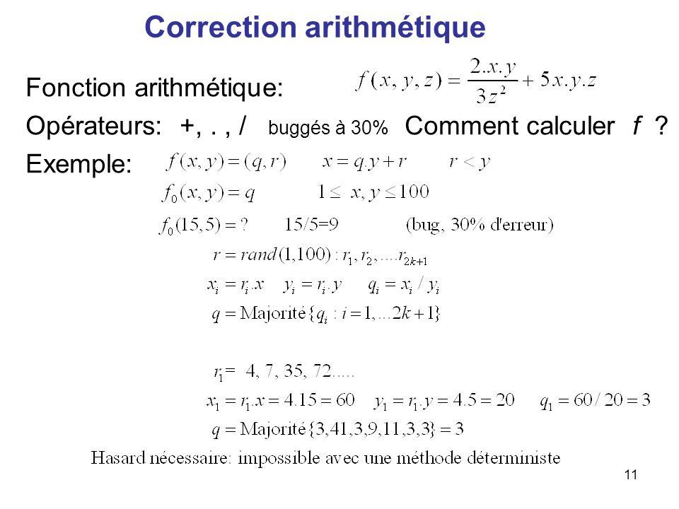 11 Correction arithmétique Fonction arithmétique: Opérateurs: +,., / buggés à 30% Comment calculer f ? Exemple: