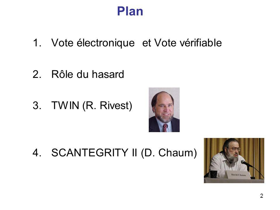2 Plan 1.Vote électronique et Vote vérifiable 2.Rôle du hasard 3.TWIN (R. Rivest) 4.SCANTEGRITY II (D. Chaum)