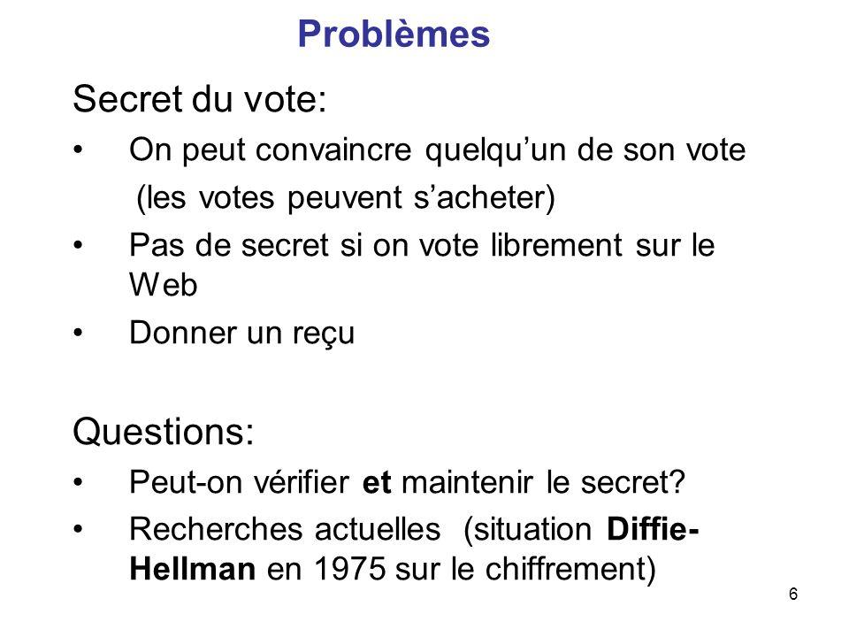 6 Problèmes Secret du vote: On peut convaincre quelquun de son vote (les votes peuvent sacheter) Pas de secret si on vote librement sur le Web Donner