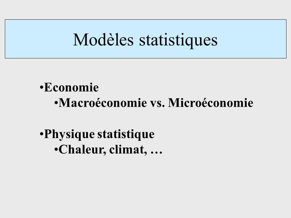 Modèles statistiques Economie Macroéconomie vs. Microéconomie Physique statistique Chaleur, climat, …