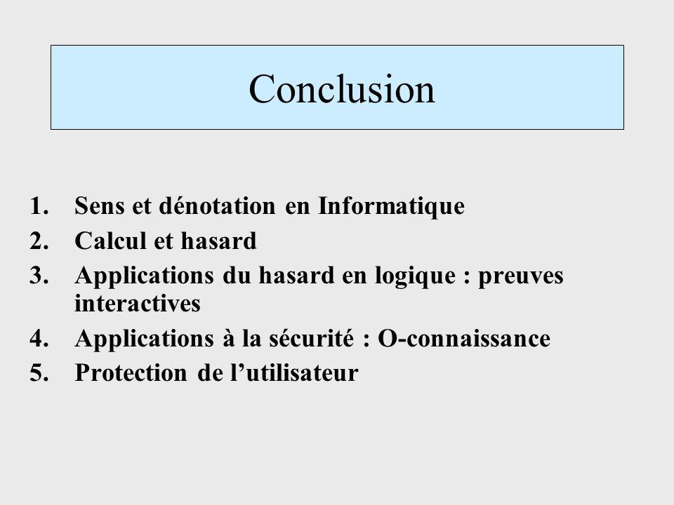 Conclusion 1.Sens et dénotation en Informatique 2.Calcul et hasard 3.Applications du hasard en logique : preuves interactives 4.Applications à la sécu