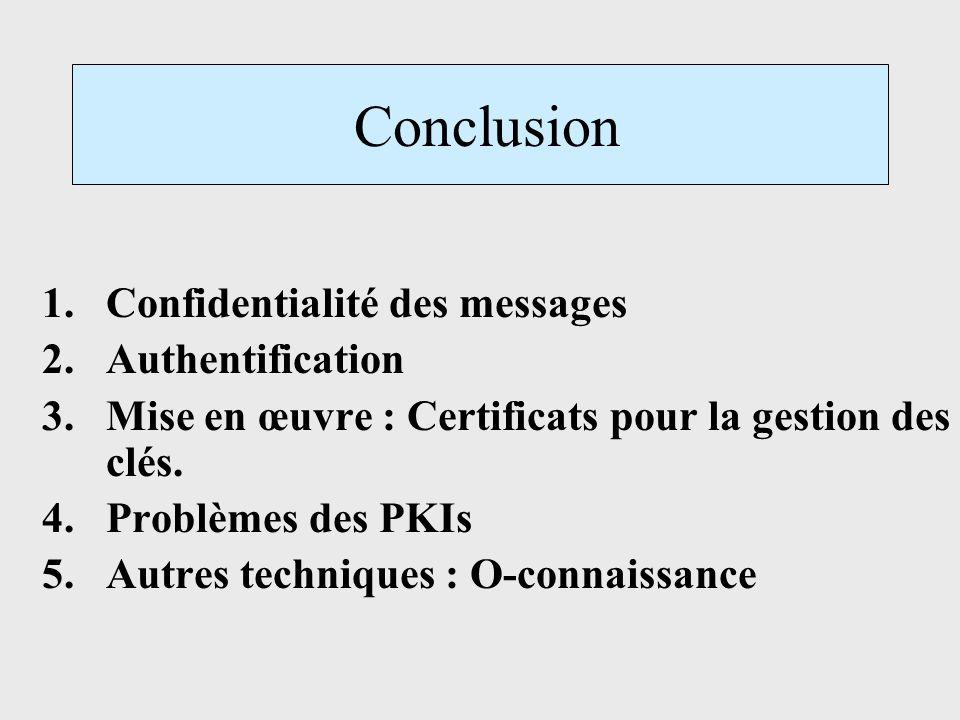 Conclusion 1.Confidentialité des messages 2.Authentification 3.Mise en œuvre : Certificats pour la gestion des clés. 4.Problèmes des PKIs 5.Autres tec
