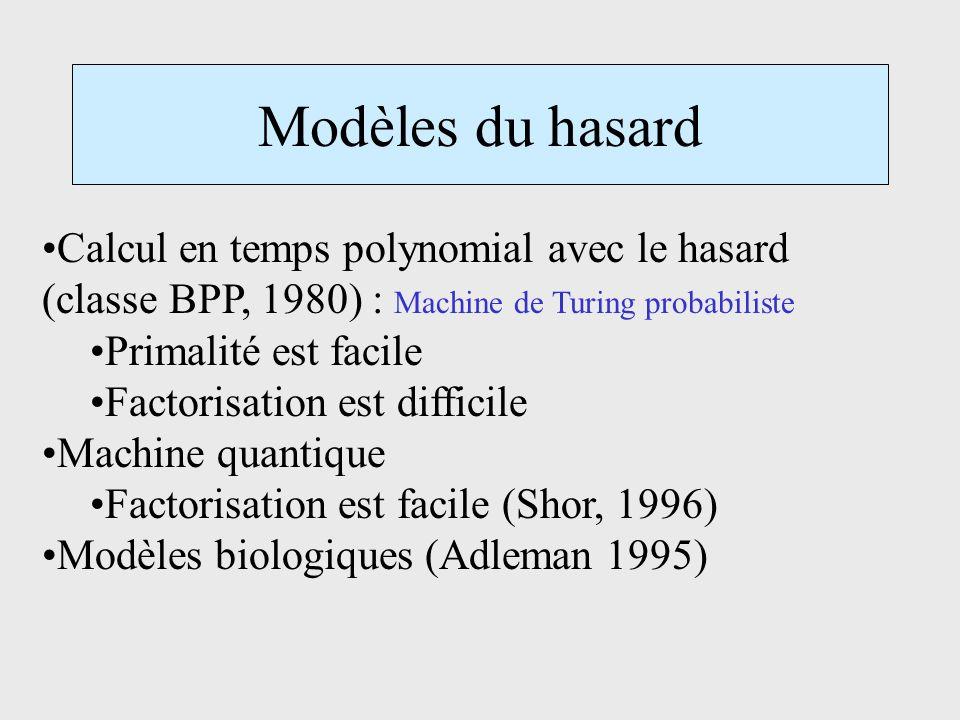 Modèles du hasard Calcul en temps polynomial avec le hasard (classe BPP, 1980) : Machine de Turing probabiliste Primalité est facile Factorisation est difficile Machine quantique Factorisation est facile (Shor, 1996) Modèles biologiques (Adleman 1995)