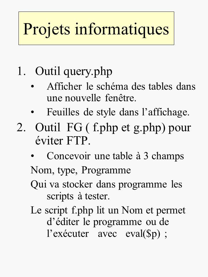 Projets informatiques 1.Outil query.php Afficher le schéma des tables dans une nouvelle fenêtre. Feuilles de style dans laffichage. 2.Outil FG ( f.php