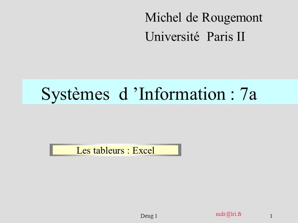 1Deug 1 mdr@lri.fr Systèmes d Information : 7a Michel de Rougemont Université Paris II Les tableurs : Excel