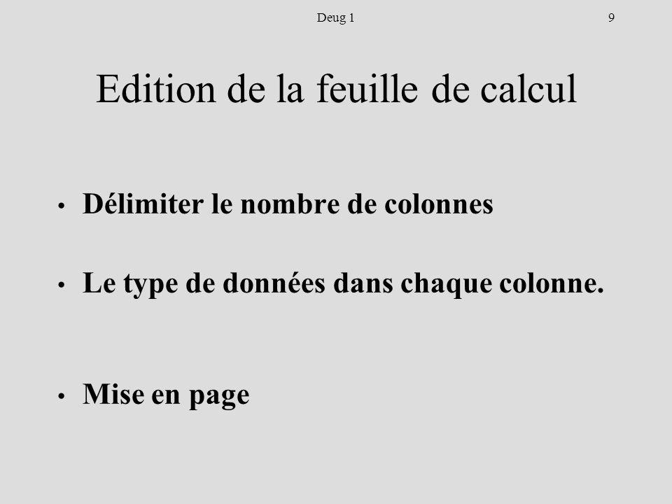 9Deug 1 Edition de la feuille de calcul Délimiter le nombre de colonnes Le type de données dans chaque colonne.