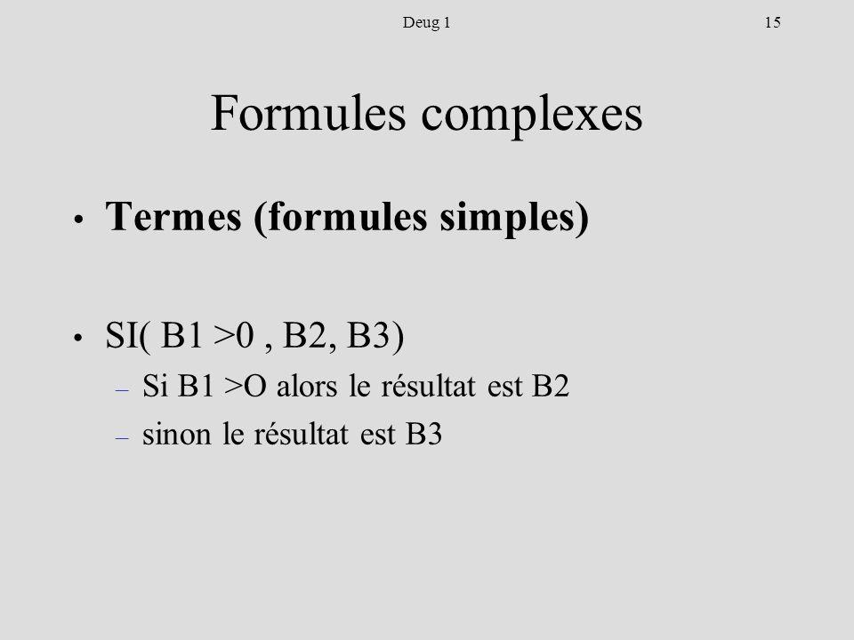 15Deug 1 Formules complexes Termes (formules simples) SI( B1 >0, B2, B3) – Si B1 >O alors le résultat est B2 – sinon le résultat est B3