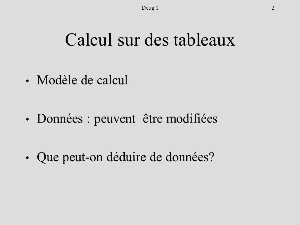2Deug 1 Calcul sur des tableaux Modèle de calcul Données : peuvent être modifiées Que peut-on déduire de données
