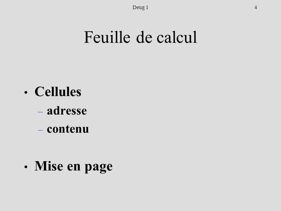 4Deug 1 Feuille de calcul Cellules – adresse – contenu Mise en page