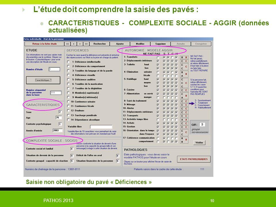 PATHOS 2013 10 Létude doit comprendre la saisie des pavés : CARACTERISTIQUES - COMPLEXITE SOCIALE - AGGIR (données actualisées) Saisie non obligatoire