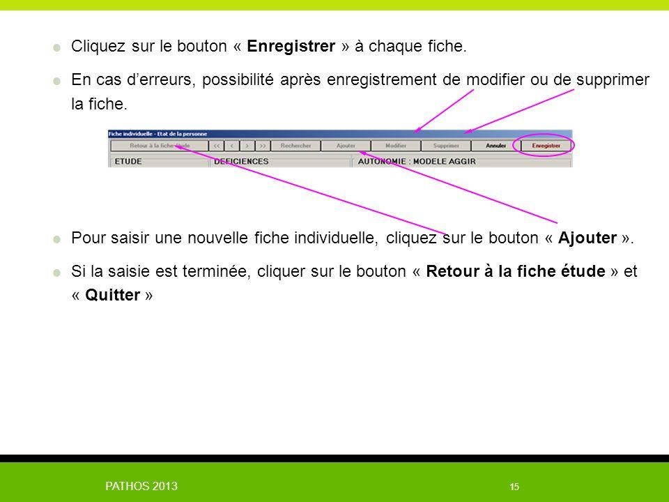 PATHOS 2013 15 Cliquez sur le bouton « Enregistrer » à chaque fiche. En cas derreurs, possibilité après enregistrement de modifier ou de supprimer la