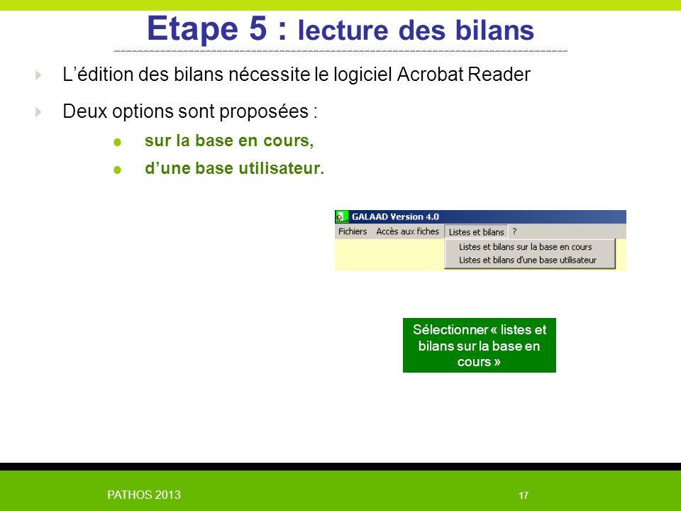 PATHOS 2013 17 Lédition des bilans nécessite le logiciel Acrobat Reader Deux options sont proposées : sur la base en cours, dune base utilisateur. Eta