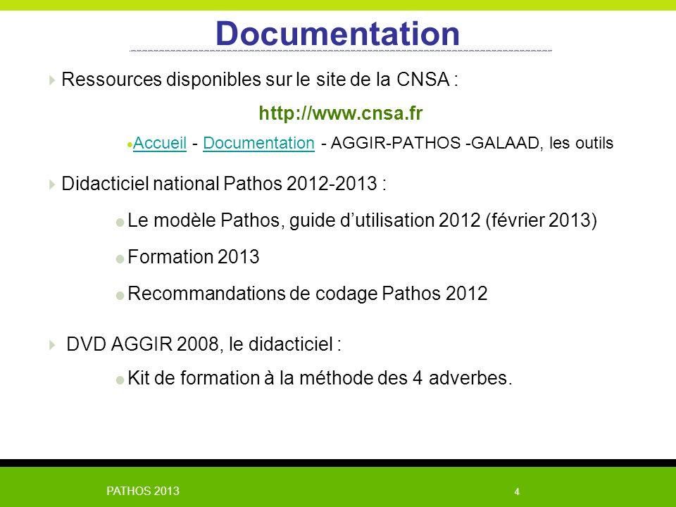PATHOS 2013 4 Documentation Ressources disponibles sur le site de la CNSA : http://www.cnsa.fr Accueil - Documentation - AGGIR-PATHOS -GALAAD, les out