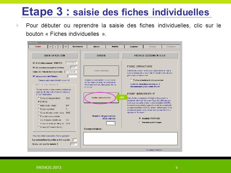 PATHOS 2013 9 Pour débuter ou reprendre la saisie des fiches individuelles, clic sur le bouton « Fiches individuelles ». Etape 3 : saisie des fiches i