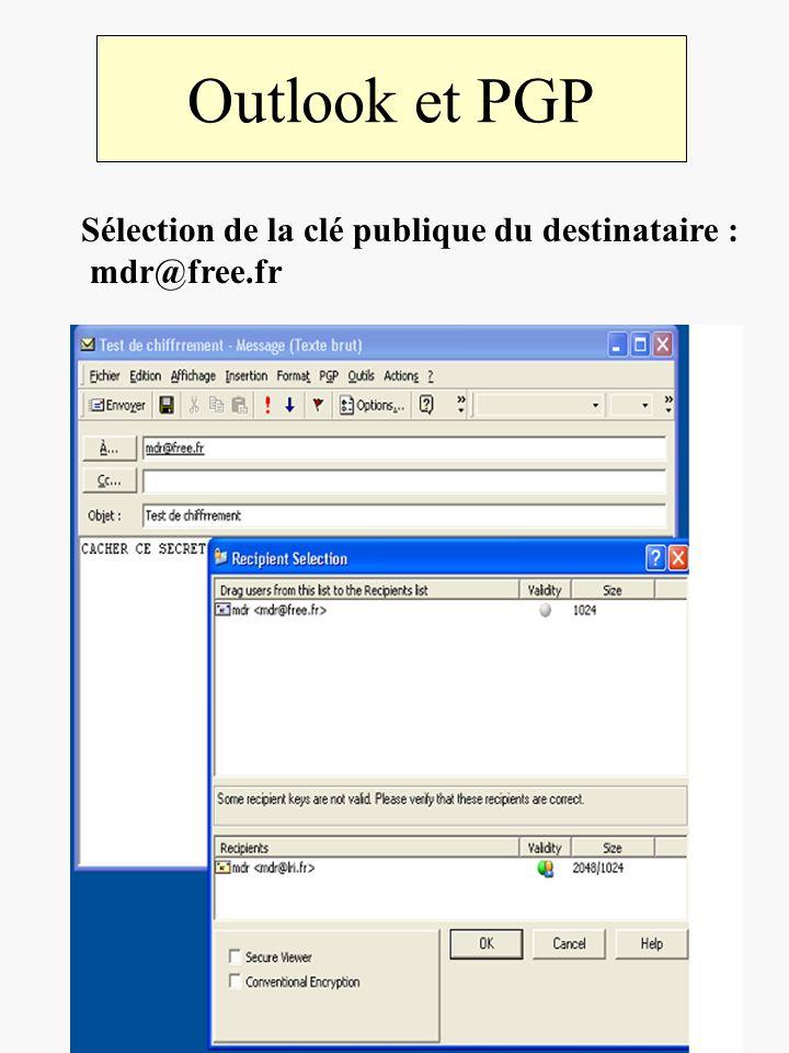 Outlook et PGP Sélection de la clé publique du destinataire : mdr@free.fr