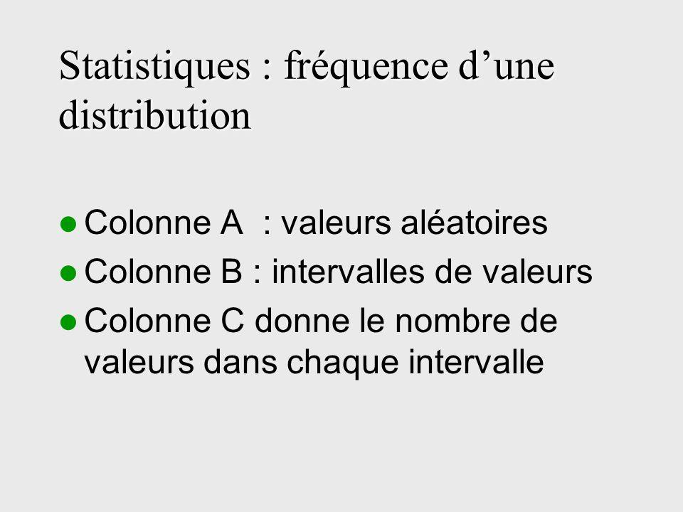 Statistiques : fréquence dune distribution Colonne A : valeurs aléatoires Colonne B : intervalles de valeurs Colonne C donne le nombre de valeurs dans chaque intervalle