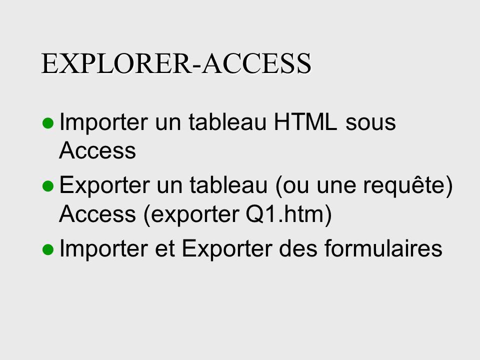 EXPLORER-ACCESS Importer un tableau HTML sous Access Exporter un tableau (ou une requête) Access (exporter Q1.htm) Importer et Exporter des formulaires