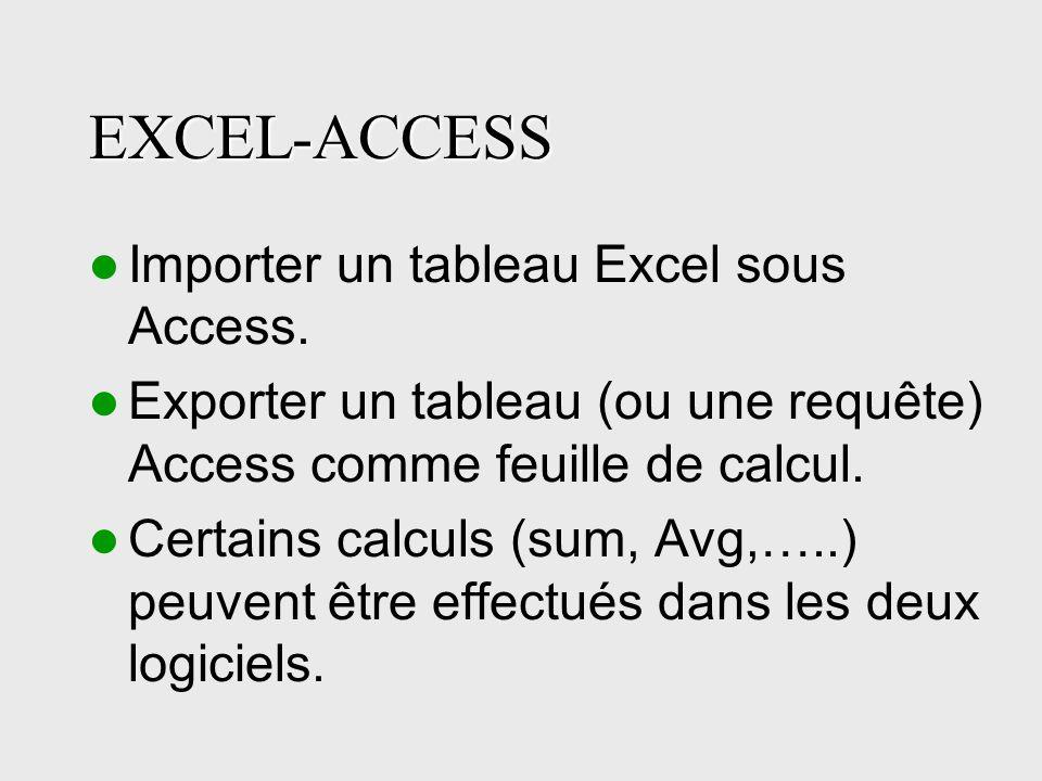 EXCEL-ACCESS Importer un tableau Excel sous Access.