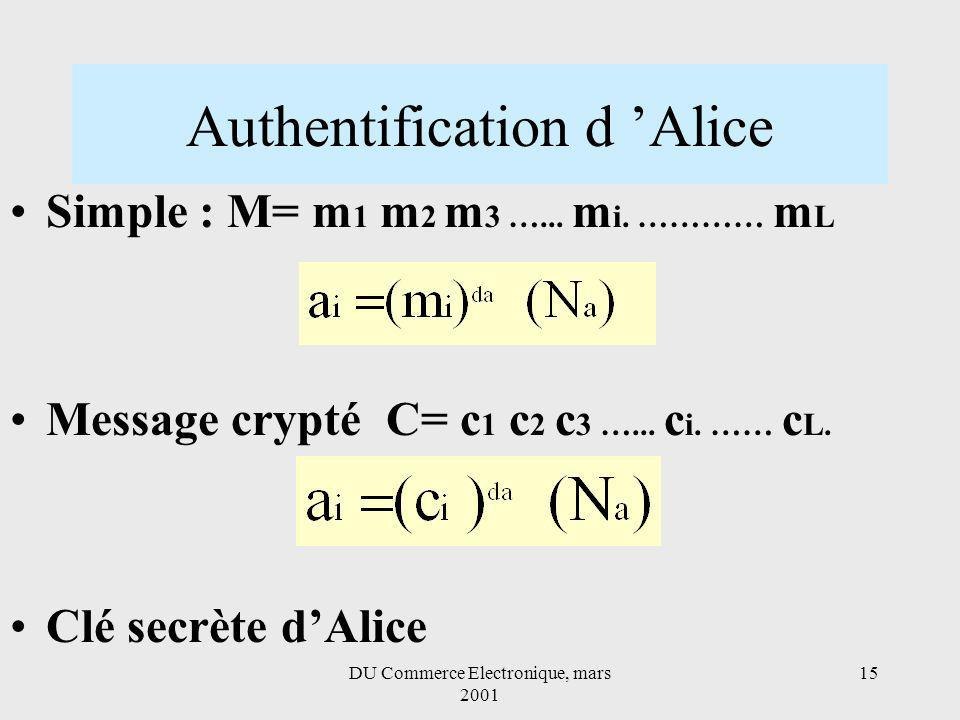 DU Commerce Electronique, mars 2001 15 Authentification d Alice Simple : M= m 1 m 2 m 3 …... m i. ………… m L Message crypté C= c 1 c 2 c 3 …... c i. ……