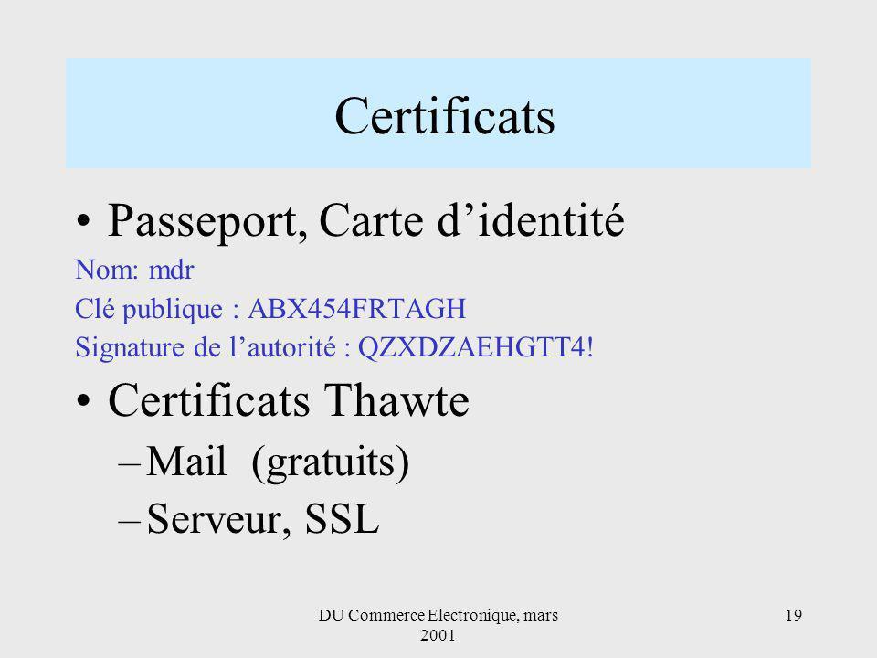 DU Commerce Electronique, mars 2001 19 Certificats Passeport, Carte didentité Nom: mdr Clé publique : ABX454FRTAGH Signature de lautorité : QZXDZAEHGTT4.