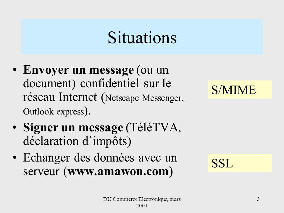 DU Commerce Electronique, mars 2001 3 Situations Envoyer un message (ou un document) confidentiel sur le réseau Internet ( Netscape Messenger, Outlook