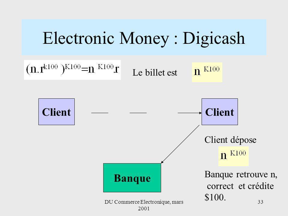 DU Commerce Electronique, mars 2001 33 Electronic Money : Digicash Client Banque Client Le billet est Client dépose Banque retrouve n, correct et crédite $100.