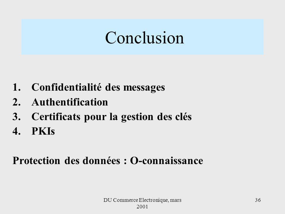 DU Commerce Electronique, mars 2001 36 Conclusion 1.Confidentialité des messages 2.Authentification 3.Certificats pour la gestion des clés 4.PKIs Protection des données : O-connaissance