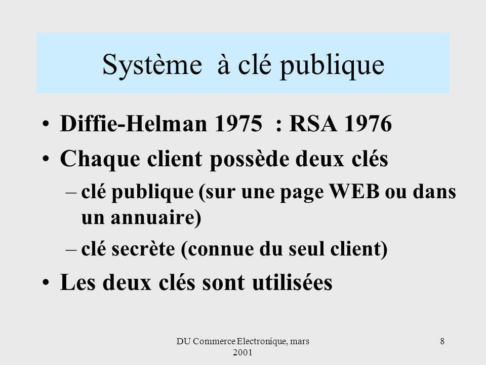 DU Commerce Electronique, mars 2001 8 Système à clé publique Diffie-Helman 1975 : RSA 1976 Chaque client possède deux clés –clé publique (sur une page WEB ou dans un annuaire) –clé secrète (connue du seul client) Les deux clés sont utilisées